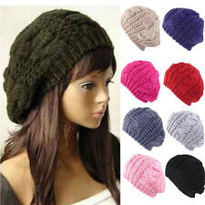 Fashion Women's Lady Beret Braided Baggy Beanie Crochet Warm Winter Hat Ski Cap