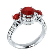 1.45 ct Red Ruby & White Sapphire Wedding Engagement Ring in Solid Gold