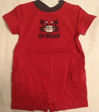 GYMBOREE Baby Boys 0-3 Month Red Crab Shack Short One Piece Cotton Outfit NWT