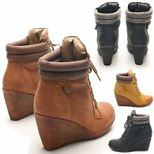NEW LADIES ANKLE BOOTS HIGH WEDGE HEEL BIKER ARMY HIGH TOP TRAINERS UK SIZES