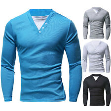 New Mens Slim Fit Long Sleeve Button V-Neck Tee Shirt Solid Casual Tops T-Shirts