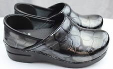 Dansko Professional Pewter Floral Patent Leather Clogs Doctor/Nurses/Chef Shoes