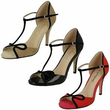 LADIES ANNE MICHELLE OPEN TOE SANDALS WITH T-BAR STRAP (3 COLOURS) F10573