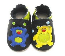 Black Alien Bear Soft Sole Leather Baby Shoes New 0 - 24 Months Brand New