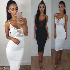 Women Backless Dresses Sling Spaghetti Strap Lace Hollow Slim Clubwear Cocktail