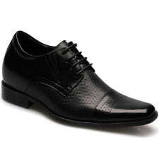 """Height Increasing Shoes 2.76"""" Black Cow Leather Elevator Dress Shoes CHAMARIPA"""