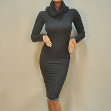 Fashion Womens Ruffled High Collar Bodycon Casual Party Knee Length Hooded Dress