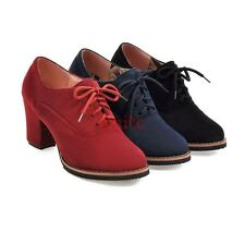 Chic Faux Suede Mid Cuban Heel Lace Up Korean Women Pumps Oxfords Shoes Size N41