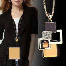 Fashion Pop Golden Necklace Women Jewelry Pendant Geometric Crystal Stone Hollow