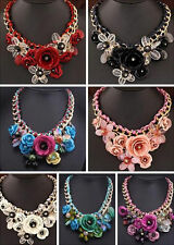 New Collar Statement Chunky Pendant Jewelry Choker Crystal Flower Necklace