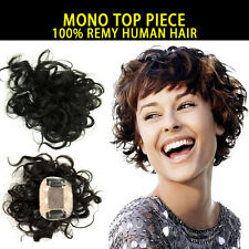 MONO TOP HAIR PIECE 100% REMY HUMAN HAIR 5X8cm AREA Short Curly Mature Thick