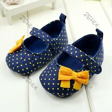 Princess Toddler Kids Baby Girl Blue Polka Dot Soft Sole Crib Shoes Prewalker