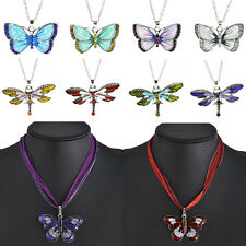 CHIC Fashion Enamel Pendant Dragonfly Butterfly Crystal Sweater Chain Necklace