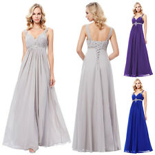Long Chiffon Bridesmaid Formal Ball Party Cocktail Evening Gown Prom Dress 4-16