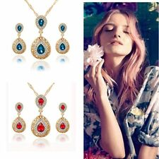 Fashion Chic Jewelry Crystal Necklace Earrings Set Wedding Bridal Water Drop