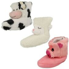 Ladies Teen Spot On Barnyard Country Animal Boot Slippers Warm Cow Sheep Pig