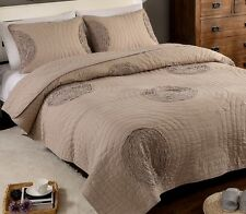 Embroidered Quilted Floral White or Brown Bed Cover Blanket 100% Cotton