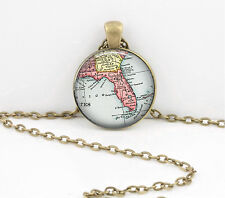 Florida Vintage Map Pendant Necklace Jewelry or Key Ring
