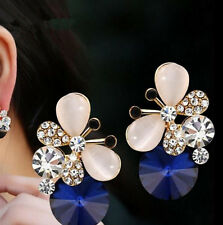 1 pair Elegant Butterfly Jewelry Asymmetric Stud Earrings Rhinestone Women