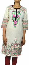 Indian Cotton White Embroidered Ladies Kurta Ethnic Top Tunic WOMEN CLOTHING EDH