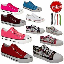 LADIES WOMENS GIRLS TRAINERS FLAT LACE UP PLIMSOLLS PUMPS CANVAS TRAINERS SHOES