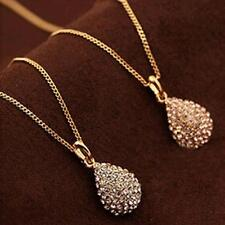 1Pcs Women Crystal Plated Silver Pendant Teardrop Necklace Shiny Plated  Gold