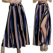 Stylish Striped Pants Women Casual High Waist Flare Wide Leg Long Trousers S-XL