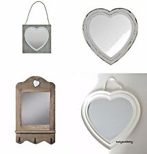 Heart Shape Mirror White Wall Hanging Brown Wooden Shabby Chic