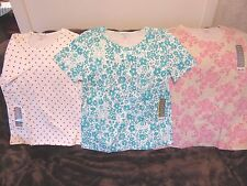White Stag Floral & Polka Dot 100& Soft Cotton Knit S.S. Top  Size S-2XL New!