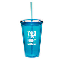 16oz Double Wall Acrylic Tumbler Cup With Straw You Just Got Served Volleyball