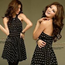 Korean Womens Stylish Sexy Polka Dots Printed Halter Mini Dress Pleated Blacks