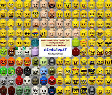 LEGO - Minifigure Heads Assorted - Faces City Town Alien Skull Yellow Bulk Lot