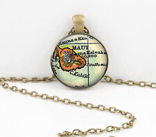 Hawaii Maui Vintage Map Pendant Necklace Jewelry or Key Ring