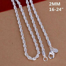 Long Men Women Choker Necklace Silver Plated Wrest Rope Chain 16-24 Inch