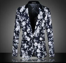 Korean Mens One Button Slim Fit Suit Jacket Leisure Handsome Flowers Blazer Coat