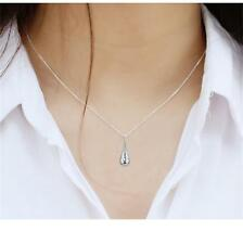 Silver Plated Earring Necklace Pendant Water Drop Hollow Jewelry Sets Ear Stud