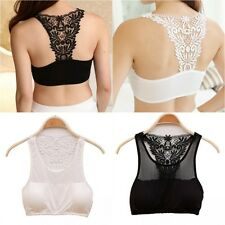 Womens Lace Top Bralet Bustier Cut Out Vest Bandeau Unpadded Crop Tank Tops Bra