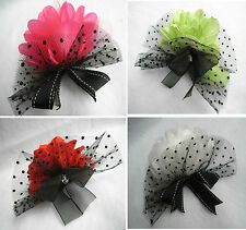 Party White Pink Red Green Flower Feather Bead Organza Bow Hair Piece/Brooch