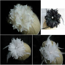 Bridal Party White/Ivory/Black Chiffon Flower Feather Bead Hair Piece/Brooch