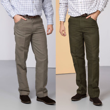 Rydale Mens Moleskin Trousers Olive Green or Tan Beige Cotton