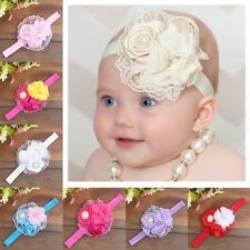 Cute Newborn Infant Baby Girls Lace Pearl Flower Soft Elastic Headband Hairwear