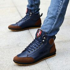 New Winter Men's Casual Leather High Top Sneakers Lace-up Work Shoes Ankle Boots