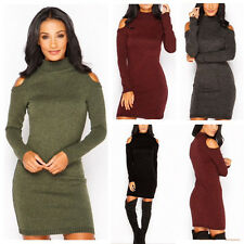 Sexy Womens Off Shoulder Long Sleeve Knit Bodycon Wrap Hip Sweater Mini Dress