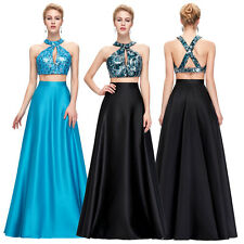 Women Sexy Two-Piece Sequined Formal Ball Gown Cocktail Evening Prom Party Dress