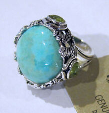 Barse Ring Turquoise & Peridot Stone Sterling Silver Statement Size 8 NEW!