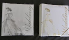 WHITE WITH GOLD OR SILVER WEDDING PHOTO ALBUM FOR 80 4 X 6 PHOTOS SLIP IN STYLE