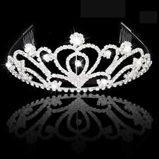 Wedding Crystal Woman Bridal Veil Tiara Crown Headband W/ Comb Jewelry Gift