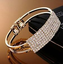 1Pcs Bracelet Elegant Jewelry Bangle Cuff Gold Silver Plated Women Crystal Gift