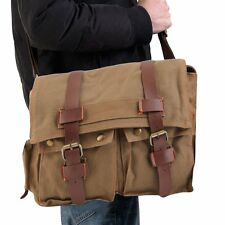 Men's Vintage Canvas Leather School Military Shoulder Messenger Bag hot FE