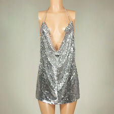 Women Sexy Sequins Club Party Dress V-Neck Halter Backless Slit Mini Short